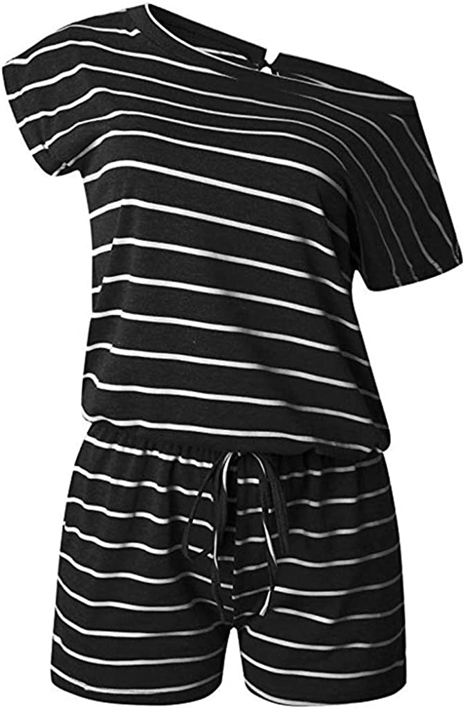 VEZAD Sleeveless Strappy Womens Short Playsuits Striped Cami Belt Romper Jumpsuit