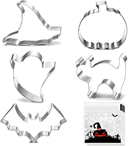 Halloween Cookie Cutters - 5 pieces Cookie Cutters Shape - Pumpkin, Bat, Ghost, Cat and Witch Hat Shapes for Halloween Food Party Decorations