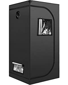 """iPower 32""""x32""""x63"""" Hydroponic Mylar Grow Tent with Observation Window, Tool Bag and Floor Tray for Grow Light and Indoor Plant Growing"""