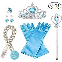 Vicloon 6Pcs Nuovi Accessori per Vestire Principessa con Treccia,Diadema,Guanti,Bacchetta Magica,Orecchini,Anello Per Ragazze di 3-10 Anni