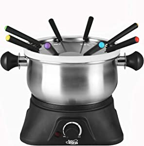 Artestia Electric Chocolate & Cheese Fondue Set with Two Pots, Serve 8 persons (Stainless Steel/Ceramic Pots, Dark Base)