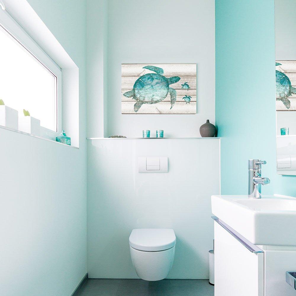 Amazon.com: SUMGAR Wall Art for Bathroom Green Sea Turtle Wall Decor ...