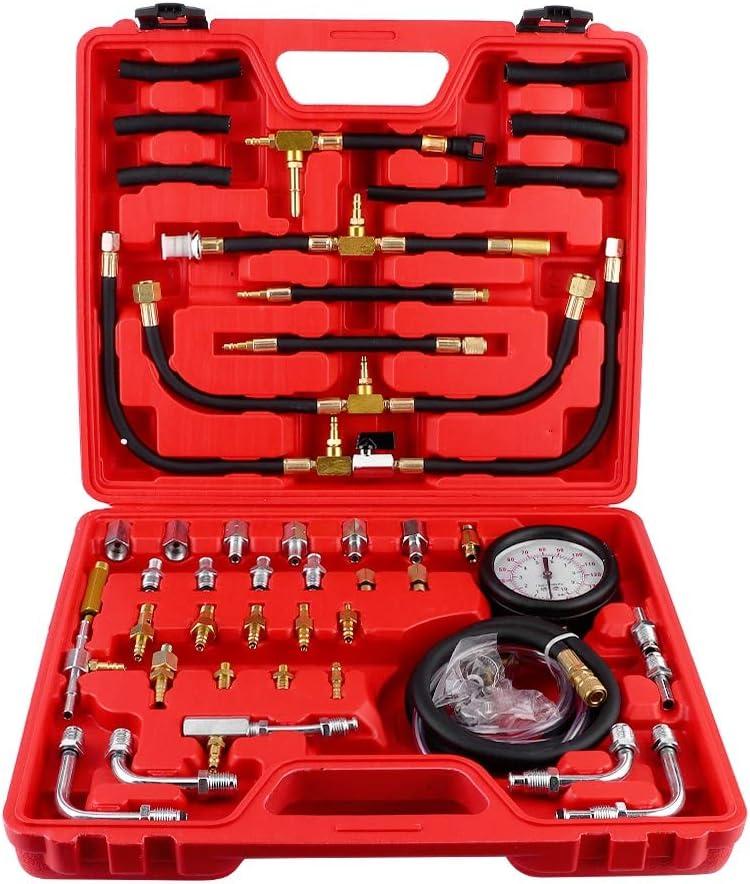 Medidor de presión de Combustible TU-443 Probador de compresión de Motor diésel de Gasolina Profesional Bomba de inyección de Combustible Kit de Herramientas de diagnóstico automático