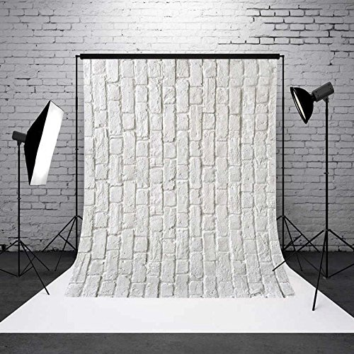 DODOING 3x5ft White Brick Wall Vinyl Cloth Customized Photography Backdrop Background Studio Prop