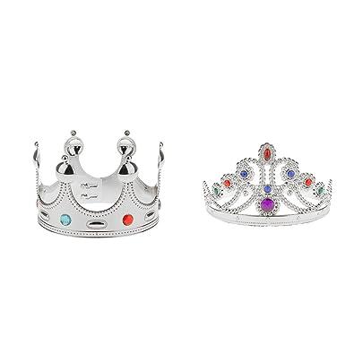 Homyl Pieces of 2 King Queen Princess Crown Fancy Dress Wedding Birthday Prom Costume Hat