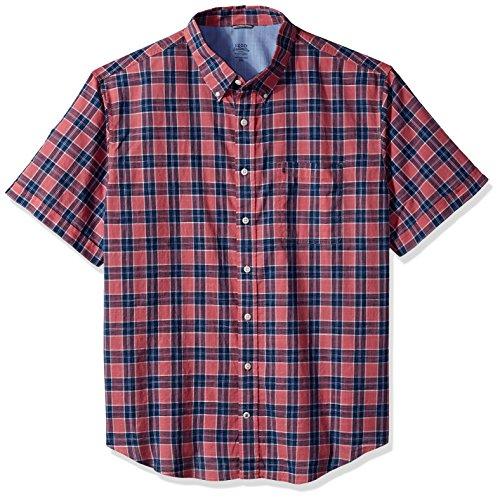 Chambray Plaid Shirt (IZOD Men's Big Saltwater Chambray Plaid Short Sleeve Shirt, Chambray Rose, Large Tall)