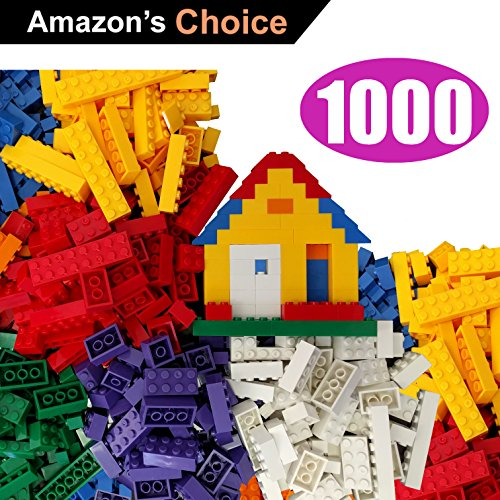1000 Building Bricks - Tight Fit and Compatible with All Major Brands - Most are Large Blocks + Free Brick Seperator
