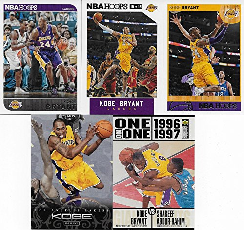Kobe Bryant 5 Card Gift Lot including his 2014 2015 2016 Hoops 2009 Panini Highlights and 2001 Topps NBA Basketball Series Mint Cards M (Mint)