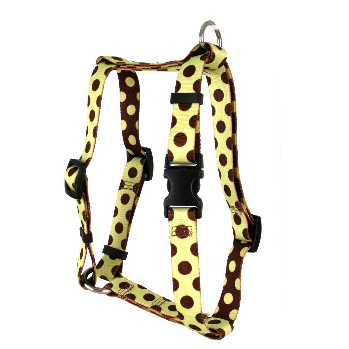 Yellow Dog Design Green and Brown Polka Dot Roman Style H Dog Harness, Small/Medium