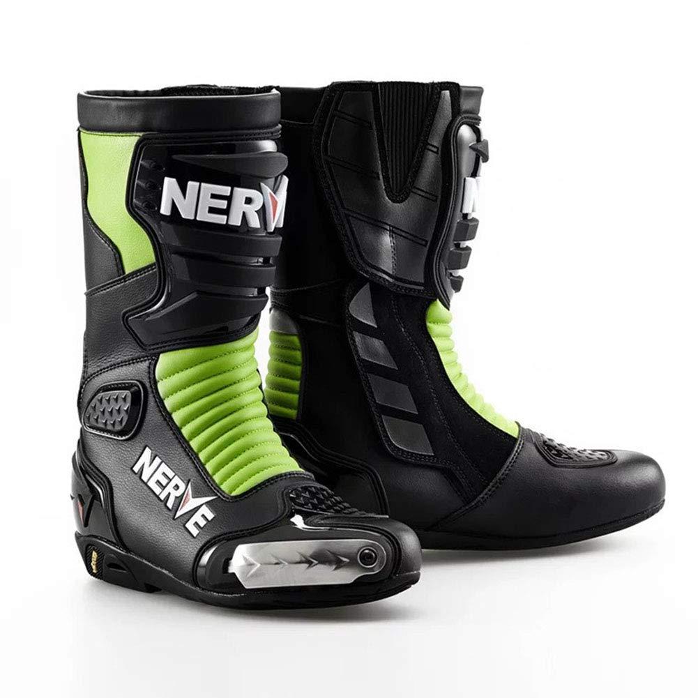 A AIFXZ Stivali da Moto Sautope da Moto Stilista da Corsa Stivaletto, Stivali da Pista Impermeabili e Antiscivolo per Gare su Strada Ciclismo Sport Racing Uomo,B-44