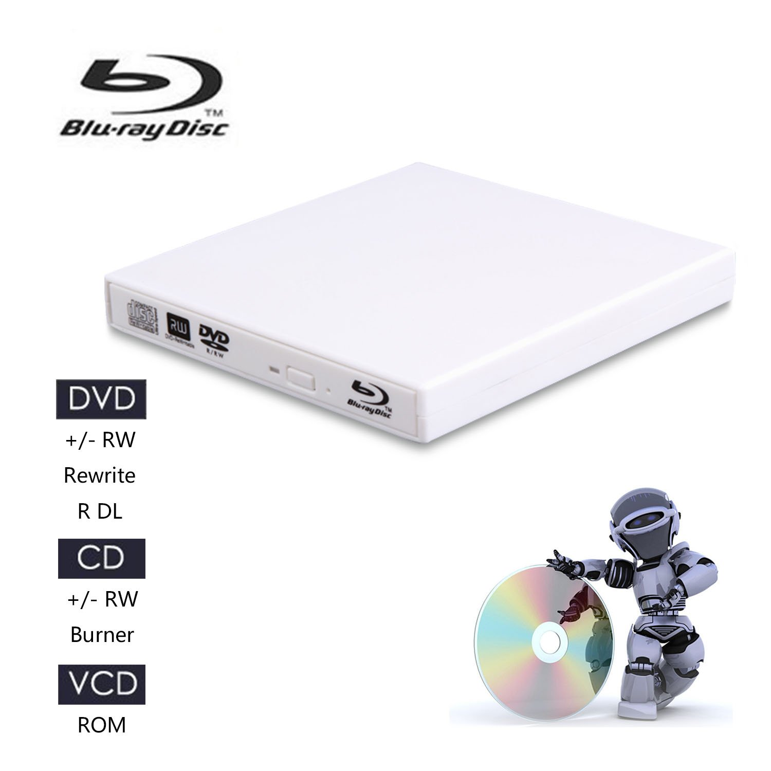 Juanery——External Blu-ray CD Drives,USB 2.0 blu-ray DVD CD Drive/BD - ROM/DVD Player for Various Brands of Desktop, Laptop, Super Notebook and so on (White)