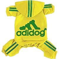 Adidog - Sudadera con capucha para perro, de algodón, 4 patas, cálida sudadera de invierno para perros (amarillo, talla…