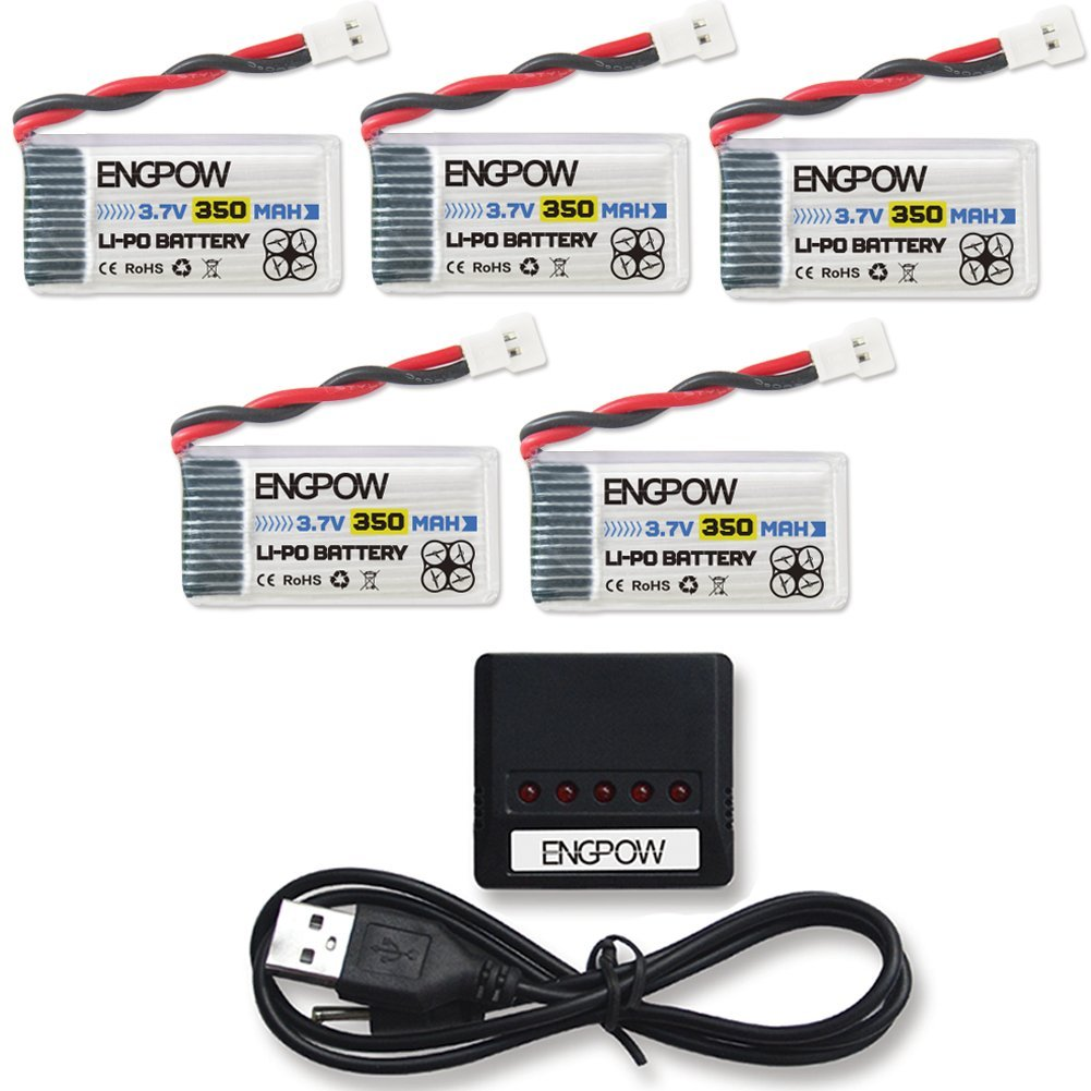 ENGPOW 3.7v 350mah 25C Lipo Battery with X5 Charger for TOZO Q2020 Holy Stone HS170 Drone HS230 RCtown ELF II HW Mini Drone Hubsan X4 H107C 107D 107L RH803 Protocol Dronium One [5pcs]