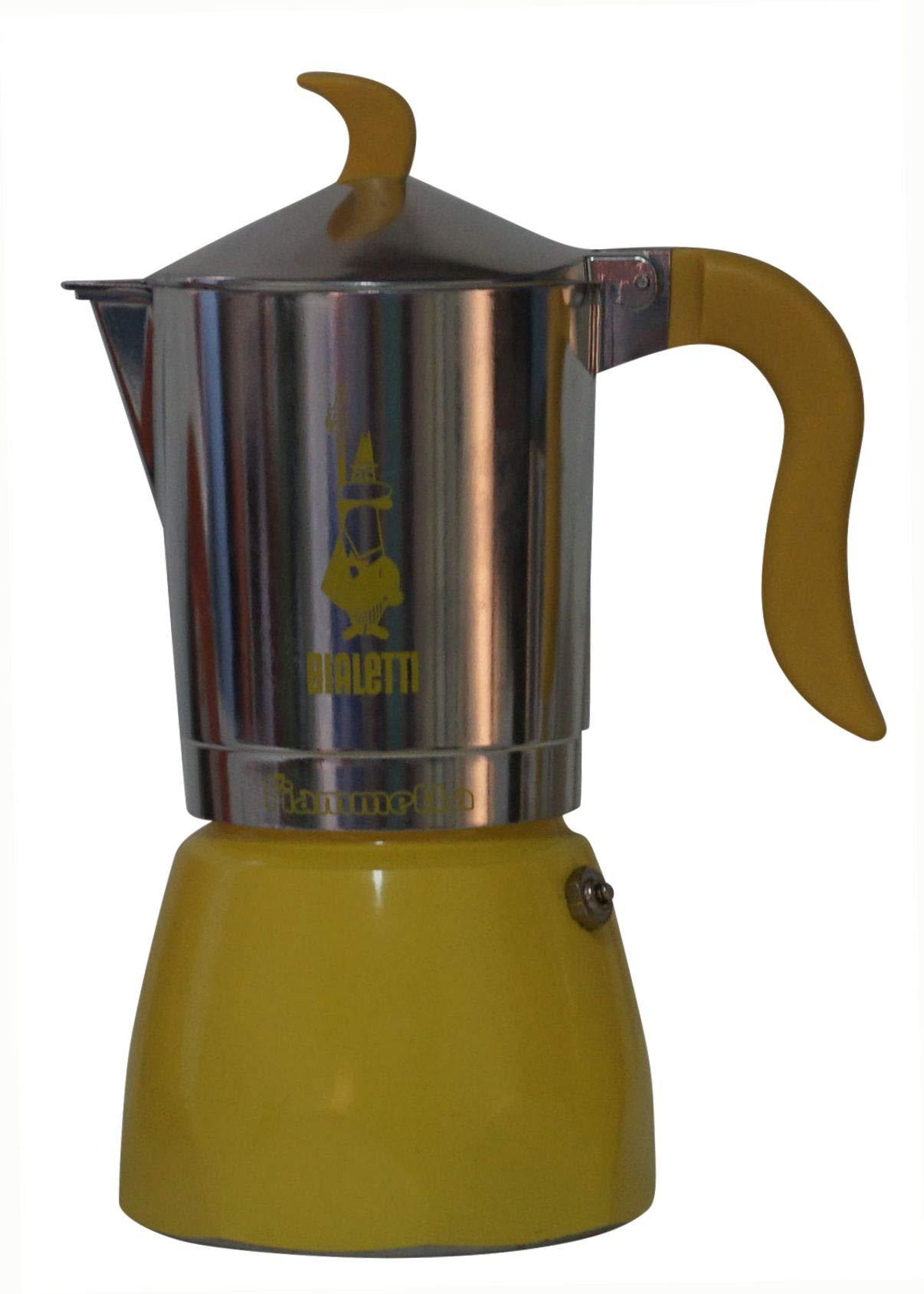 Bialetti:''Fiammetta'' Colours 6-Cups Yellow, New Ergonomic Shape for Handle and Knob [ Italian Import ]