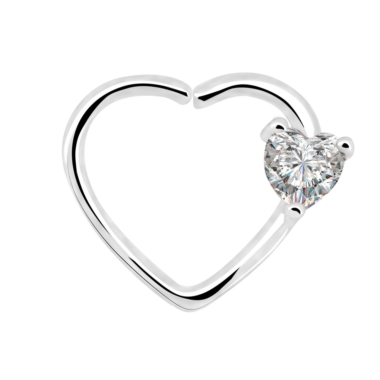 OUFER Body Piercing Jewelry 16 Gauge Clear Heart CZ Left Closure Daith Cartilage Earring Heart Tragus Earrings Piercing (white clear)