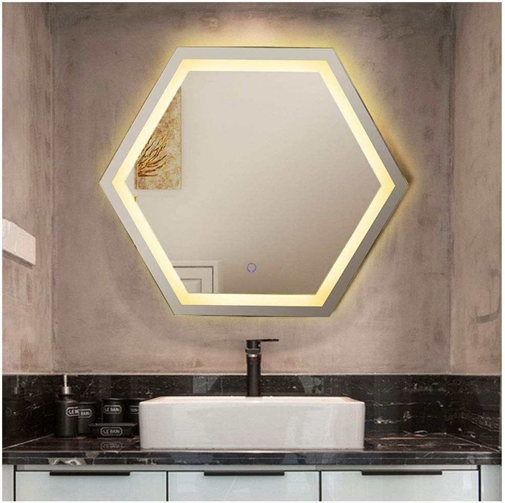 Wz 650 Mm Hexagon Illuminated Wall Mirrors Led Bathroom Mirror With Bluetooth Music Demister Sensor Time Temperature Multifunction Amazon Co Uk Kitchen Home