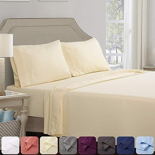 Medium Blue Superior 100/% Brushed Microfiber Wrinkle Resistant Twin XL Sheet Set 3-Piece