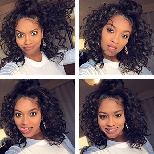 - Chantiche Short Curly Human Hair Wig for Black Women, Lace Front Wigs Human Hair with Baby Hair Brazilian Remy Wigs #1B 8inches