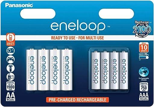 Panasonic Eneloop SY3052715 - Pack de 8 Pilas Recargables (4 x AA, 4 x 4 AAA): Eneloop: Amazon.es: Electrónica