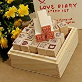 C&C Products 25Pcs Antique Wooden Boxes Love Diary Pattern Rubber Stamps Drawing Art