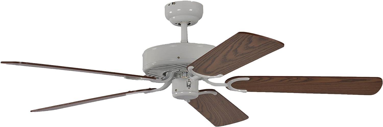 Pepeo Potkuri ventilador de techo sin luz, carcasa en blanco lacado, aspas reversibles color roble con insertos de ratán, 132 cm, para habitaciones de hasta 25 m²