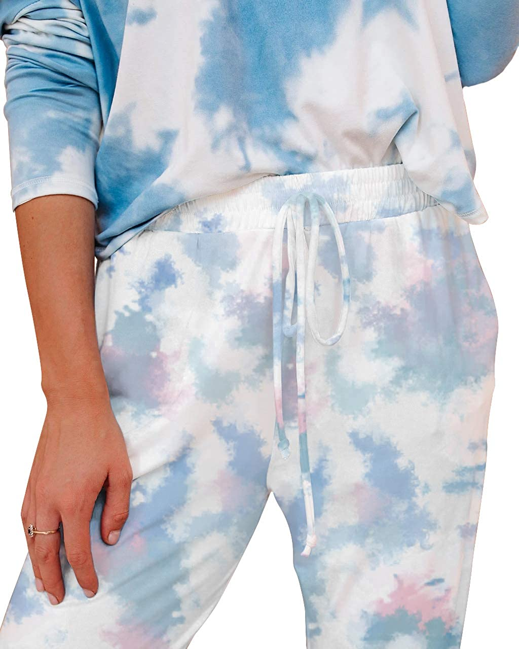 Famulily Womens Casual Tie Dye Sweatpants High Waist Joggers with Pockets
