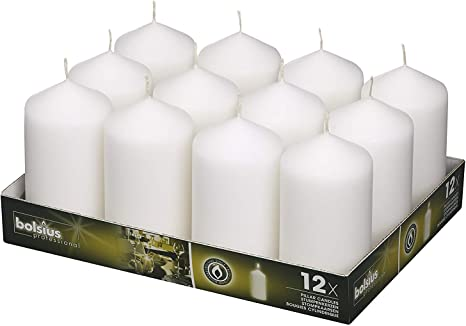 Amazon Com Bolsius Set Of 12 White Pillar Candles 2 75 X 5 Inch Unscented Candle Set Dripless Clean Burning Smokeless Dinner Candle Perfect For Wedding Candles Parties And Special Occasions Home Improvement