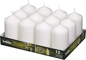 BOLSIUS Set of 12 White Pillar Candles - 2.75-x 5-inch Unscented Candle Set - Dripless Clean Burning Smokeless Dinner Candle - Perfect for Wedding Candles, Parties and Special Occasions