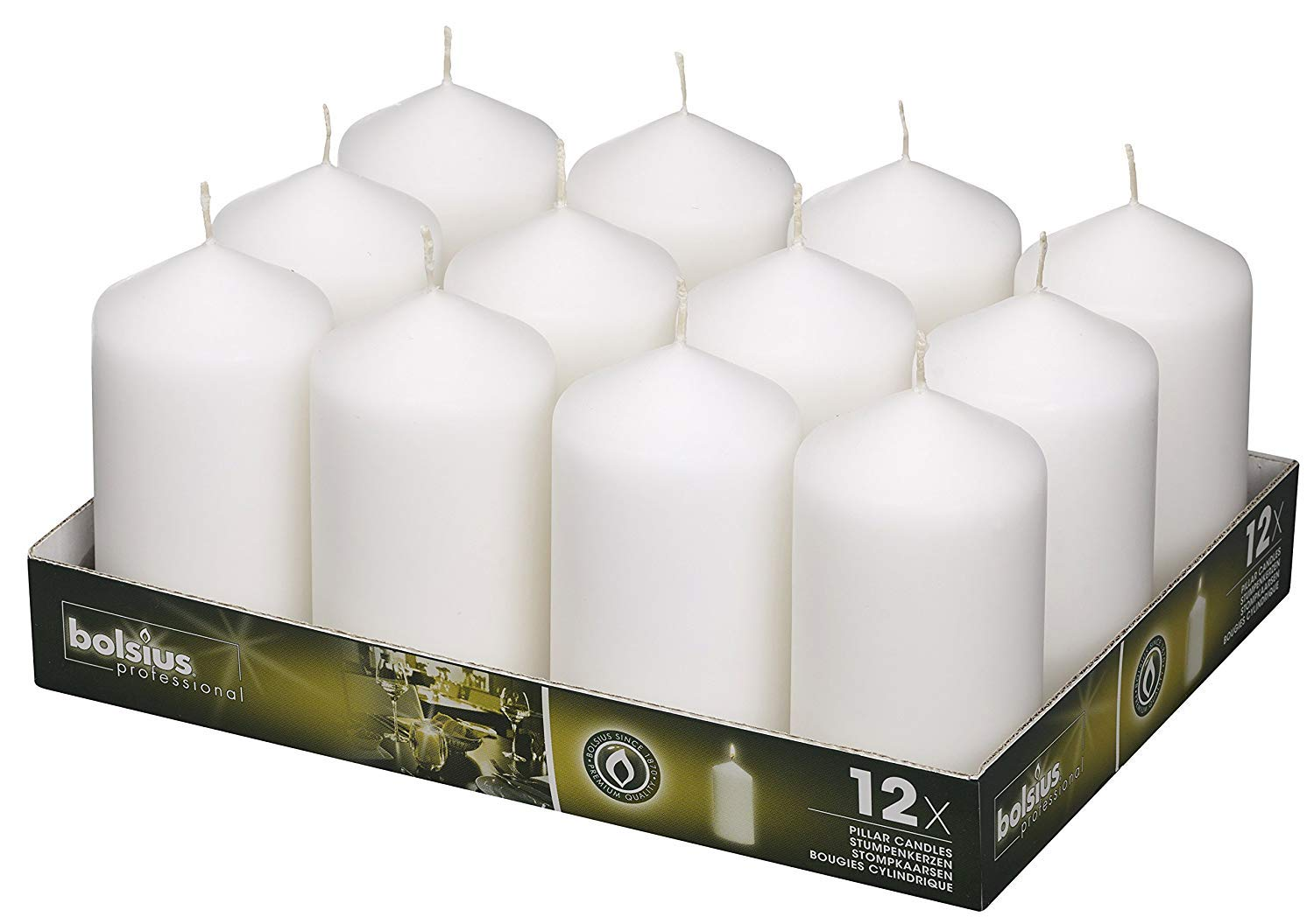 BOLSIUS White Pillar Candles - 12 Pack 40 Long Burning Hours Candle Set - 5-inch x 2.75-inch Dripless Candle - Perfect for Wedding Candles, Parties and Special Occasions