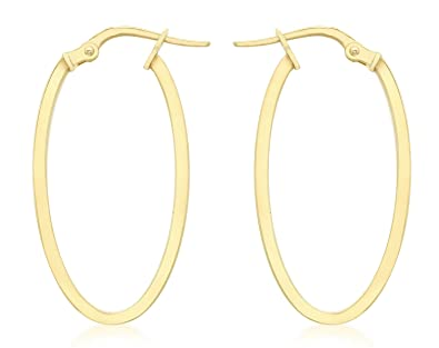 Carissima Gold 9ct Yellow Gold Square Tube Oval Creole Earrings ktdpa8zy