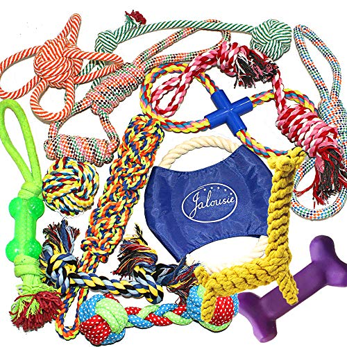 Jalousie 14 Pack Puppy Chew Dog Rope Toy Assortment for Small Medium Large Breeds ()