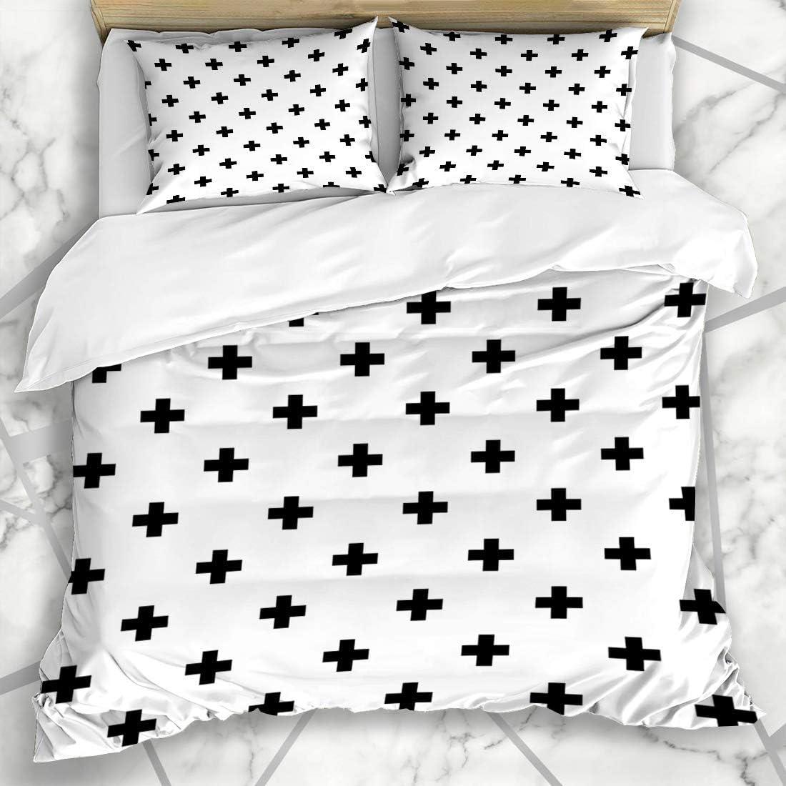 Soefipok Duvet Cover Sets Switzerland Swiss Crosses Pattern Cross Monochrome Abstract Plus Black Geometric Contemporary Microfiber Bedding With 2 Pillow Shams Amazon Co Uk Kitchen Home