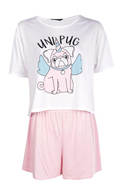 bd151ceb134f Boohoo Womens Millie Uni Pug T & Short Set in Pink size M: Amazon.ca ...
