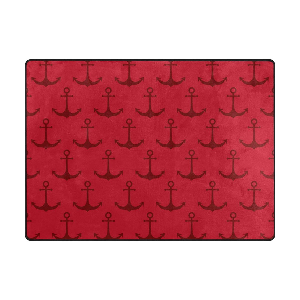 La Random Large Soft Rugs 63x48 Inches Red Nautical Anchor Non-Skid Lightweight Nursery Yoga Rugs Play Mat for Kids Playing Room Living Room Bedroom Floor Mats