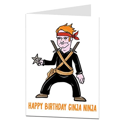 Happy día de nacimiento Ginja Ninja. - Funny Cheeky tarjeta ...
