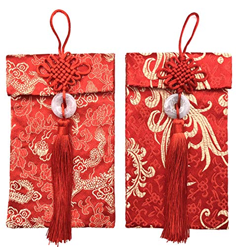 Red Golden Chinese Hongbao Envelopes Festive New Year and Silk Wedding Money Pocket Element Large with Blank red Envelope by Jiary (Dragon and Phoenix)