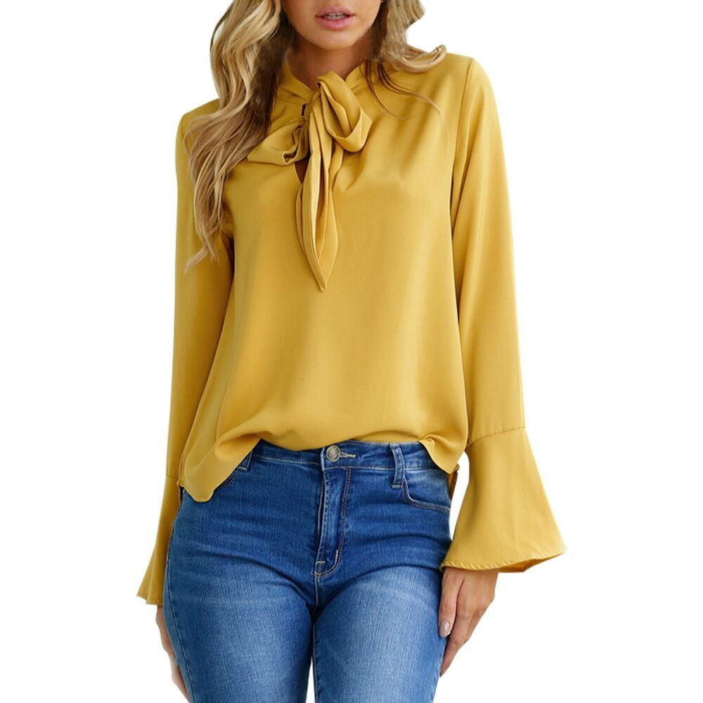 STORTO Women Flare Sleeve Bow Tie Solid Tops Casual Long Sleeve Blouse for Work