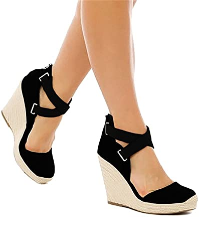 f560e994719918 Minetom Women Summer Wedges Sandals Heeled Espadrilles Shoes Ankle Strap  Peep Toe Casual Beach Weave Sandal