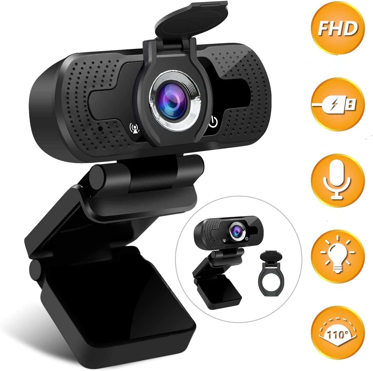 HD Webcam 1080P Computer Web Camera, PC Webcam with Microphone Drive-Free, Streaming Webcam for Desktop, Laptop, Conferencing, USB Webcam with Privacy Cover & Tripod 110° Wide View Angle