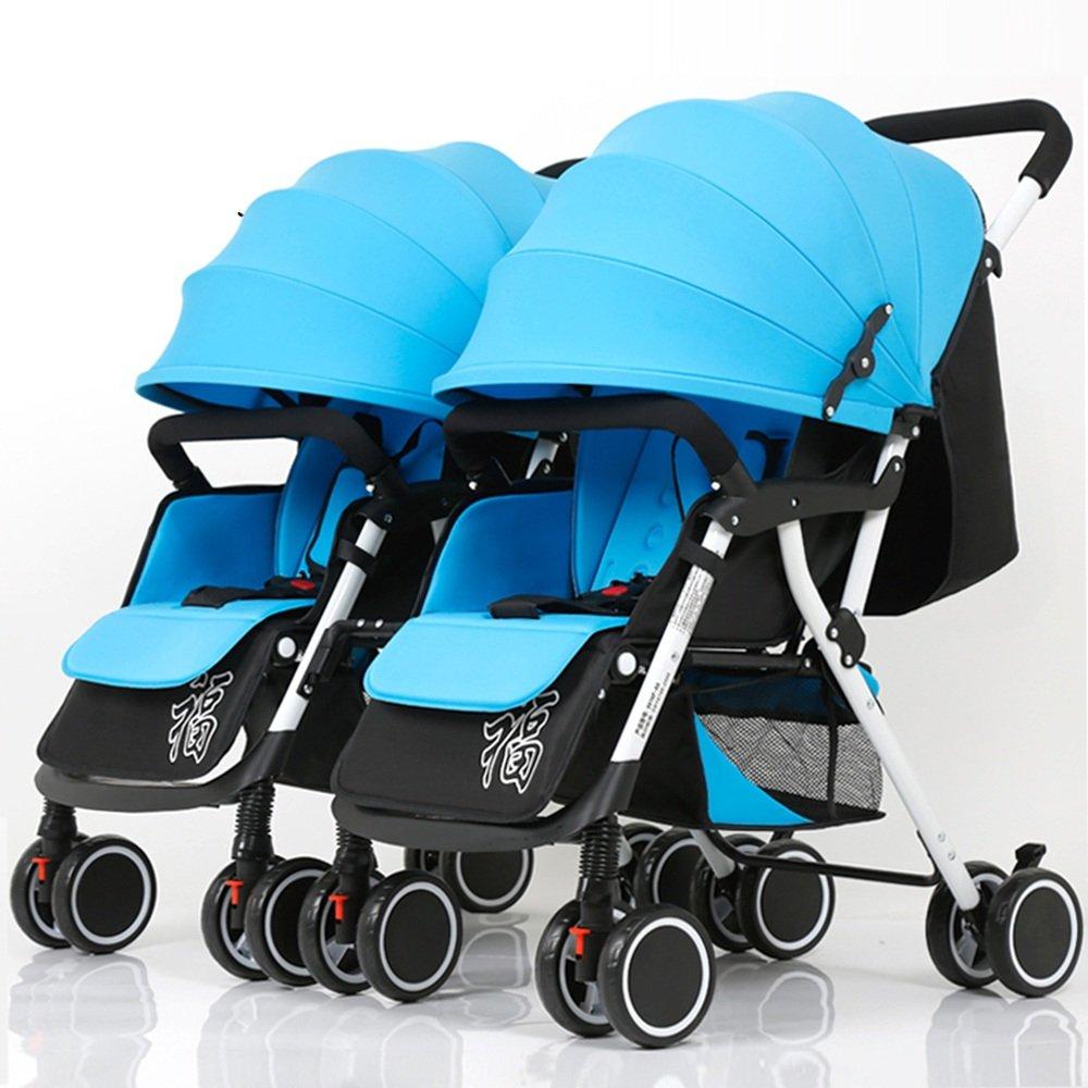 HAIZHEN マウンテンバイク ダブルベビーカーツインベビーカーベビーカー脱着式折りたたみ軽量サスペンション新生児 新生児 B07CG6XWDD Blue+Red Blue+Red