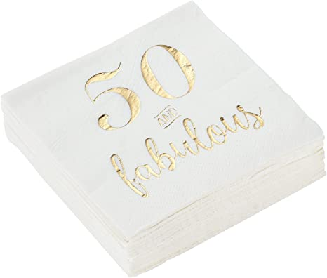 Amazon Com 50 And Fabulous Party Supplies White Paper Napkins 5 X 5 In Gold Foil 50 Pack Health Personal Care