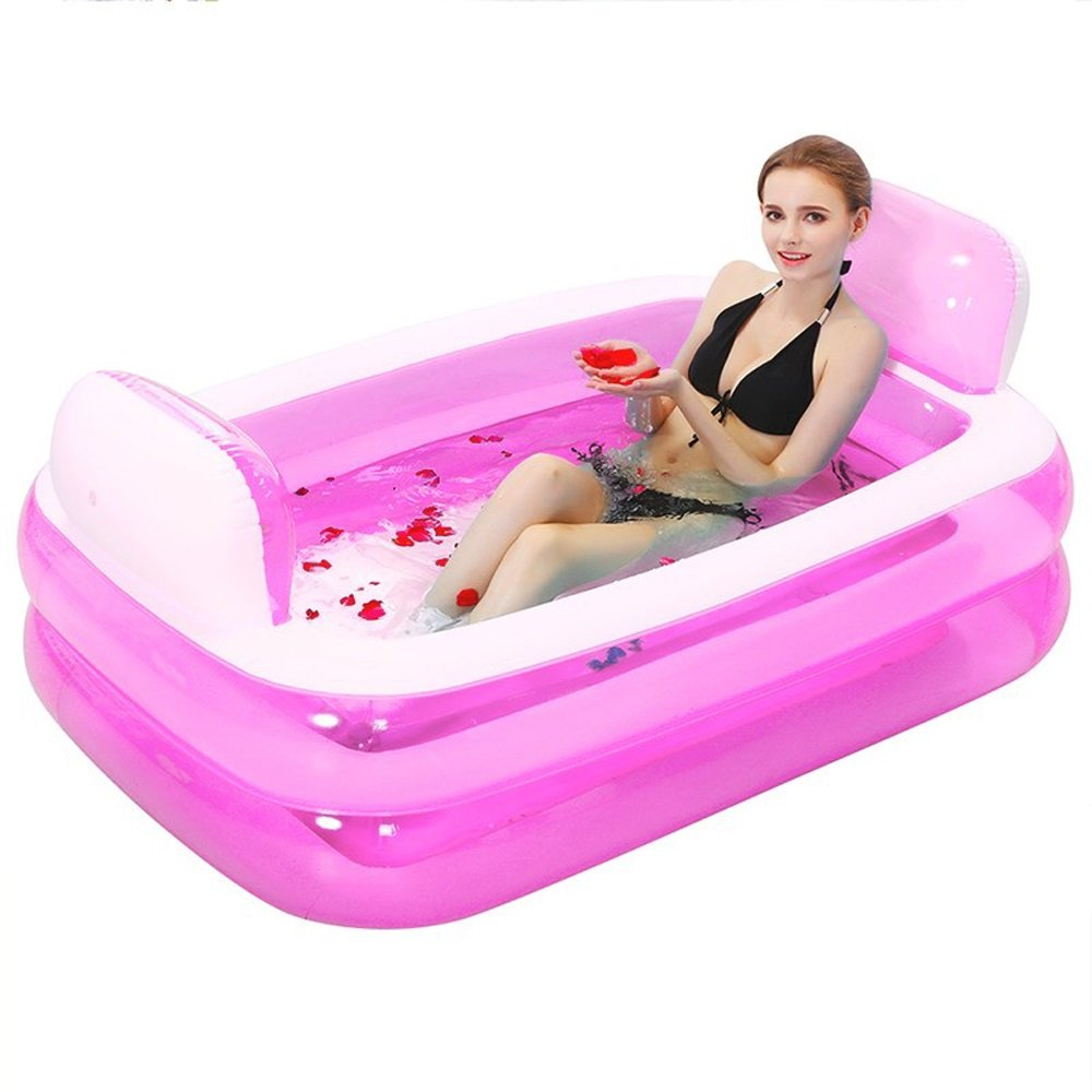 Large Size Inflatable Bathtub Folding Bath Bucket Thickening Adult Tub Children's Bath Tub PVC Bath Barrel Plastic 15210860cm (Color : Pink-electic pump)