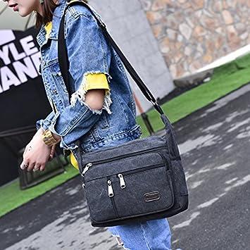 EasyHui Canvas Shoulder Messenger Bag Small Crossbody Travel Purse for Mens Womens Multi-layer Leisure Bag