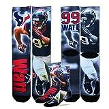 JJ Watt Houston Texans For Bare Feet NFL Drive Player Profile Socks (Youth 7-9)