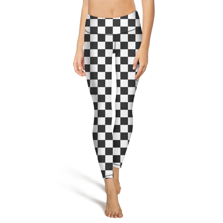 Hamily Broderei Women's Yoga Leggings Black and White Checkered Exercise Workout Pants Gym Tights