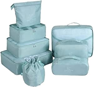 Packing Cubes for Travel 8 Pcs Luggage Organizer Set Travel Cubes with Waterproof Shoe Bag (Blue gray)
