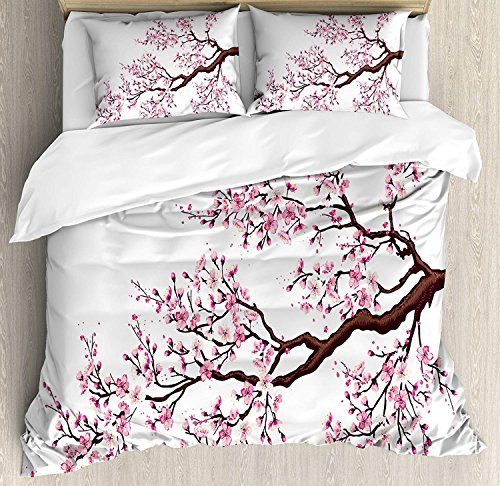 Our Wings Japanese Comforter Set,Branch a Flourishing Sakura Tree Flowers Cherry Blossoms Spring Theme Bedding Duvet Cover Sets Boys Girls Bedroom,Zipper Closure,4 Piece,Pink Dark Brown Twin Size by Our Wings