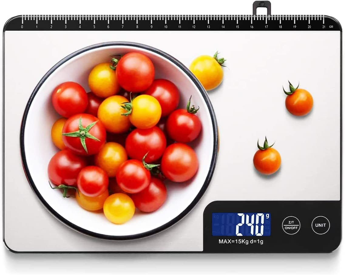 Homever Kitchen Scale Multifunction Digital Food Scale, with Highly Sensitive LCD Touch Display and Ruler Function for Cooking Baking, 9 X 6.3in Big Panel(Stainless Steel)