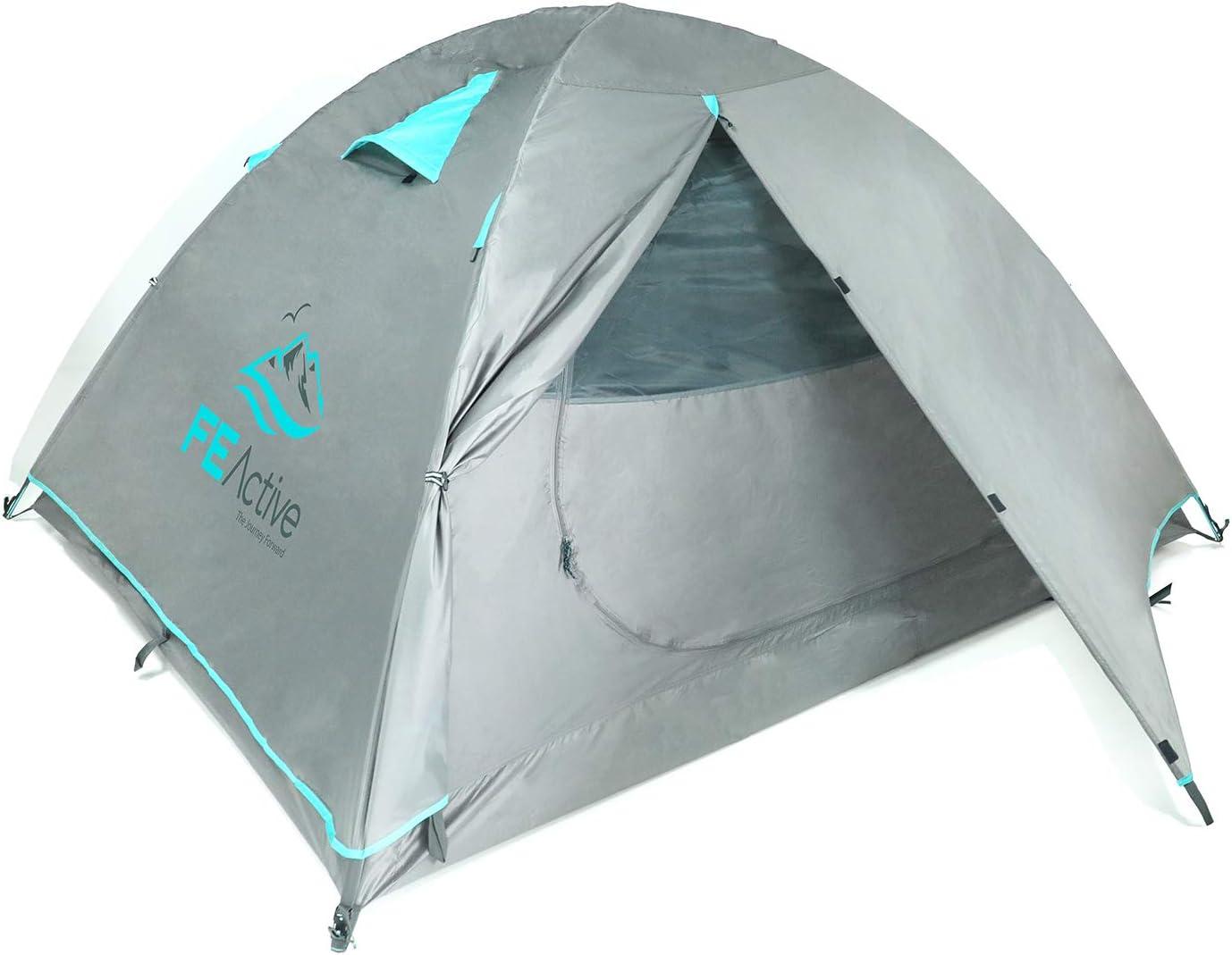 FE Active Camping Tente 4 Personnes USA Tente 4 Saisons 3-4 Places de Haute Qualit/é Imperm/éable Ind/échirable Double-toit Avec Armature Aluminium pour Camping et Randonn/ée Con/çue en Californie