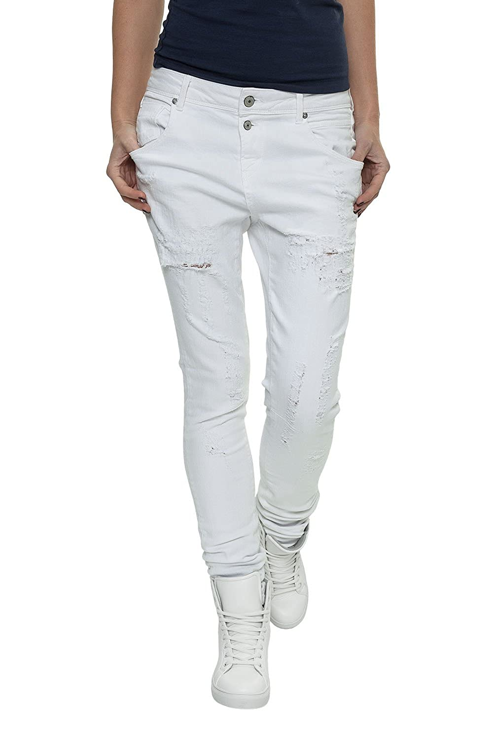 Only Women's Slim Fit Jeans Antifit Destroyed Jeans White